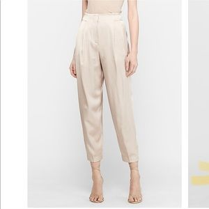High Waisted Satin Pleated Ankle Jogger Pant